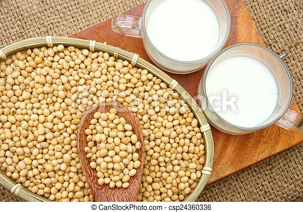 drank, soymilk, soybean, voeding - csp24360336