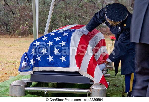 drapé, drapeau, cercueil - csp2239594