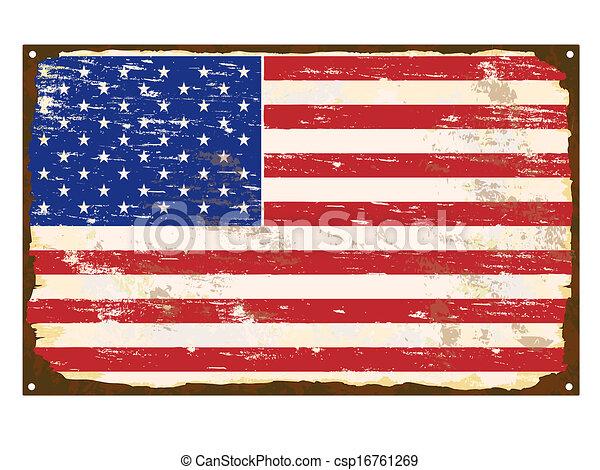drapeau américain, émail, signe - csp16761269