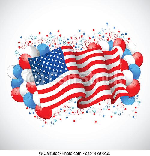 drapeau américain, balloon, coloré - csp14297255