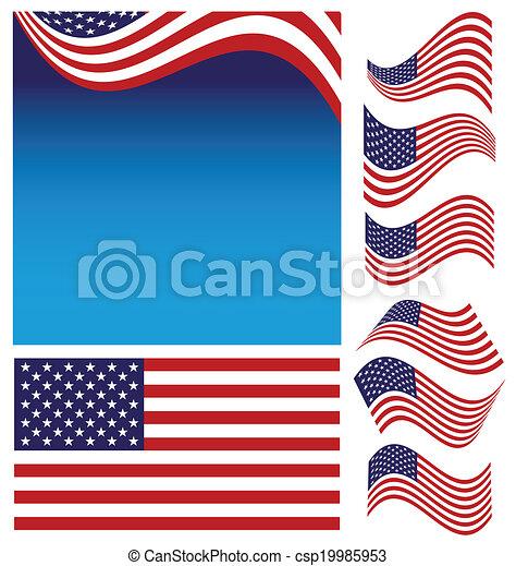 drapeau, américain, ensemble - csp19985953