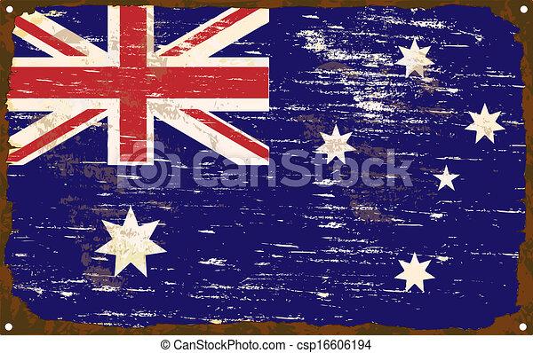 drapeau australien, émail, signe - csp16606194