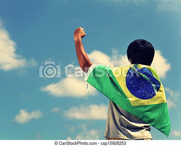 drapeau brésil, excité, tenue, homme - csp15928253