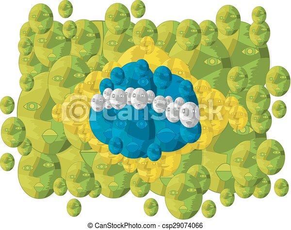 drapeau brésil, fait, faces - csp29074066