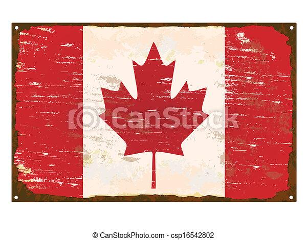 drapeau canada, émail, signe - csp16542802