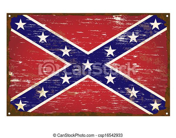 drapeau, confédéré, émail, signe - csp16542933