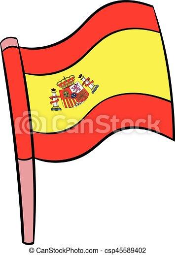 Drapeau dessin anim espagne ic ne style isol illustration drapeau vecteur dessin - Dessin espagne ...