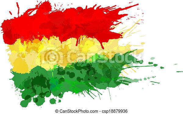 drapeau, fait, bolivien, coloré, eclabousse - csp18879936