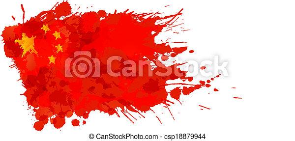 drapeau, fait, coloré, chinois, eclabousse - csp18879944