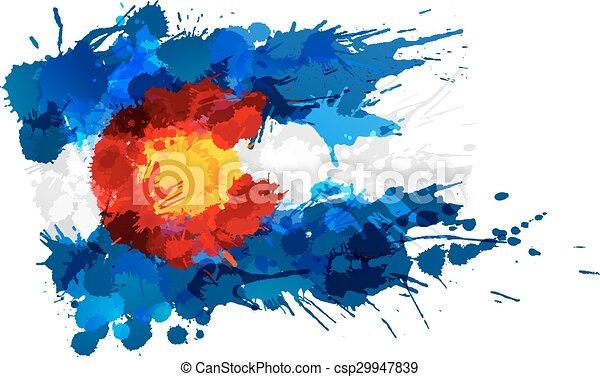 drapeau, fait, colorado, coloré, eclabousse - csp29947839