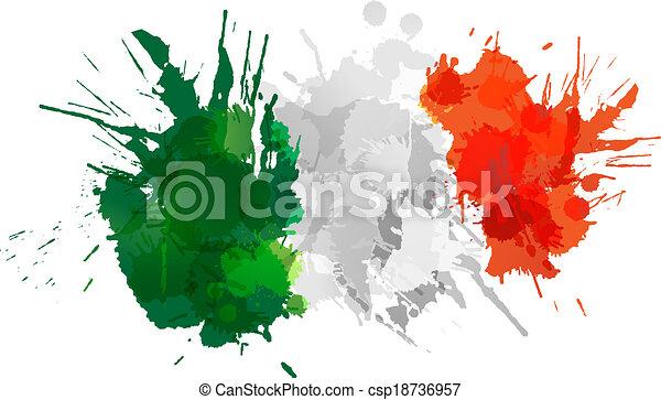 drapeau, fait, eclabousse, coloré, italien - csp18736957