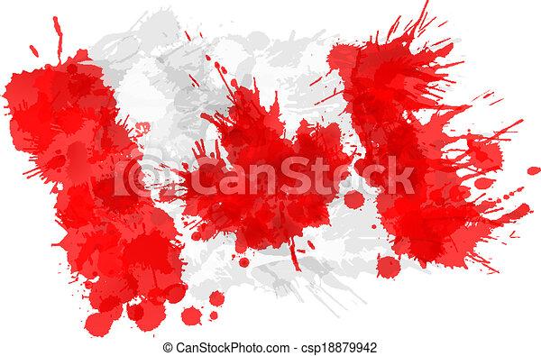drapeau, fait, eclabousse, coloré, canadien - csp18879942