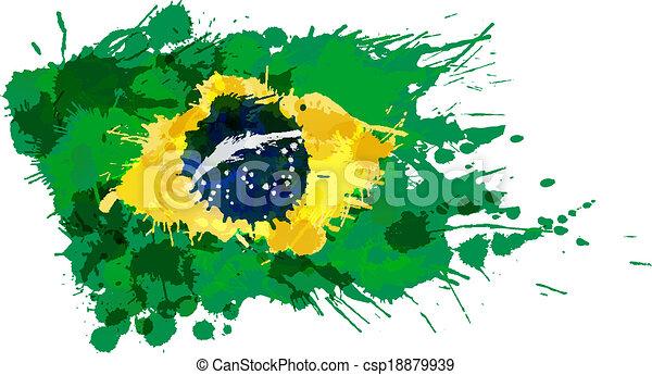 drapeau, fait, eclabousse, coloré, brésilien - csp18879939
