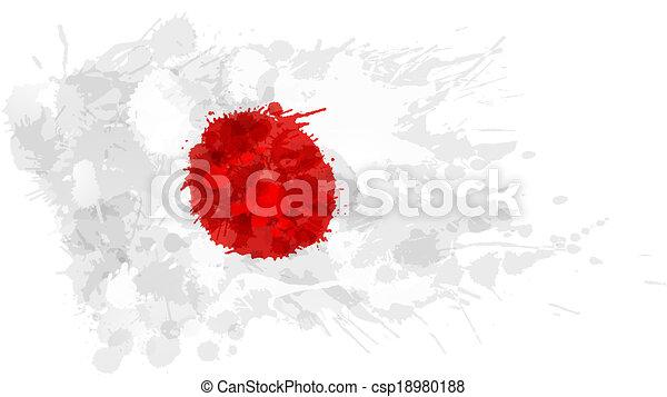 drapeau, fait, japonaise, coloré, eclabousse - csp18980188