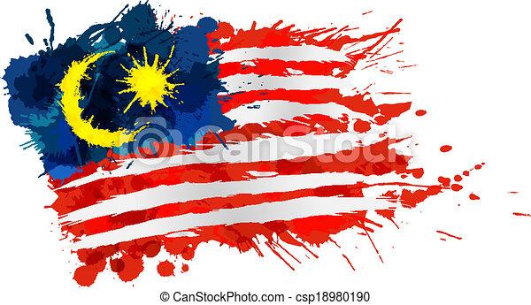 drapeau, fait, malaisien, eclabousse, coloré - csp18980190