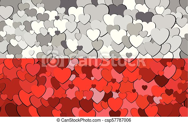 drapeau, fond, cœurs, fait, polonais - csp57787006