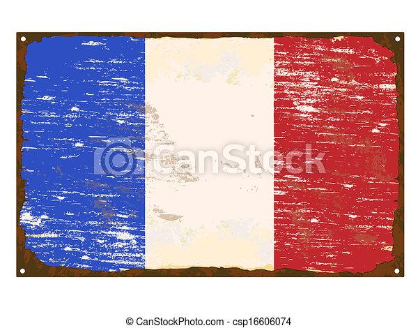 drapeau, francais, émail, signe - csp16606074