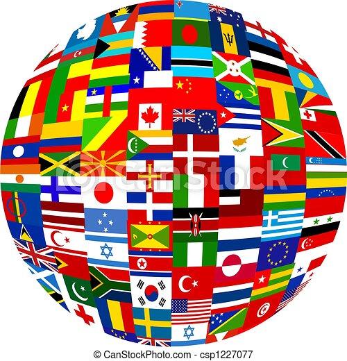 drapeau, globe - csp1227077
