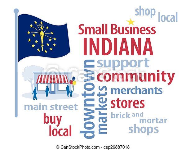 drapeau indiana, business, petit - csp26887018