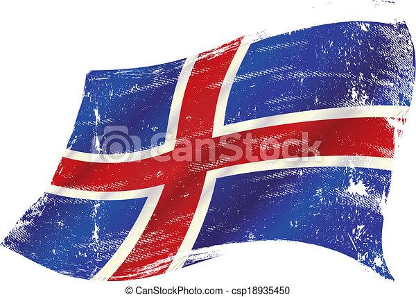 drapeau, islandais, grunge - csp18935450