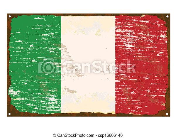 drapeau, italien, émail, signe - csp16606140