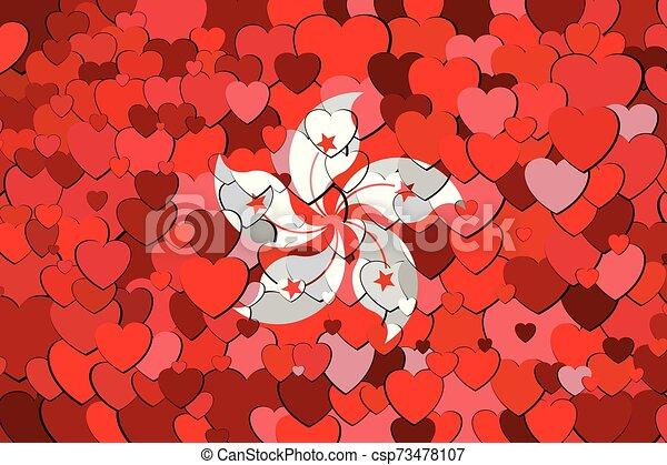drapeau, kong, cœurs, fait, fond, hong - csp73478107
