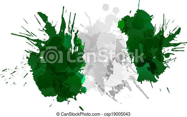 drapeau nigérien, fait, eclabousse, coloré - csp19005043