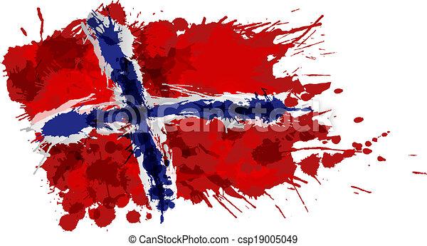 drapeau norvégien, fait, eclabousse, coloré - csp19005049