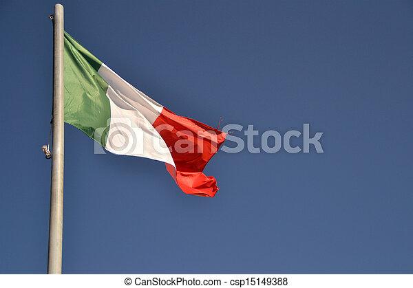 drapeau ondulant, italie - csp15149388