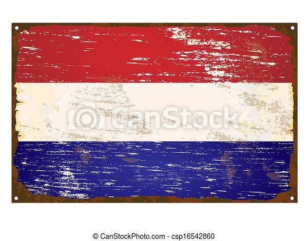 drapeau, pays-bas, émail, signe - csp16542860