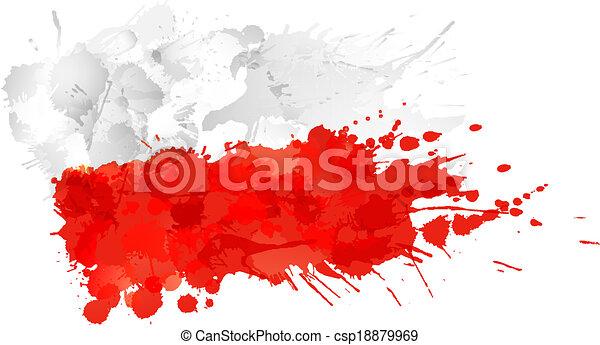 drapeau polonais, fait, eclabousse, coloré - csp18879969