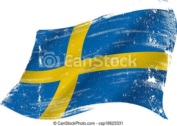 drapeau suédois, grunge - csp18623331