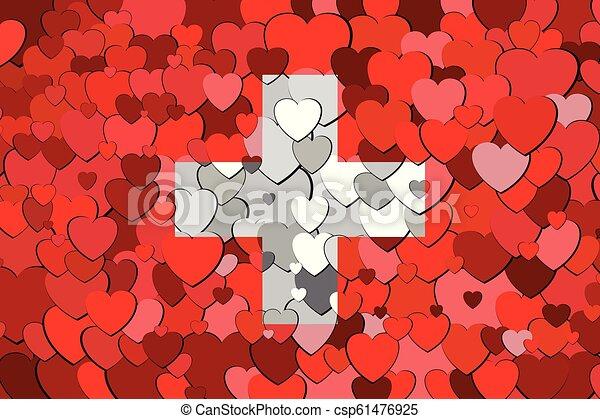 drapeau, suisse, fond, cœurs, fait - csp61476925