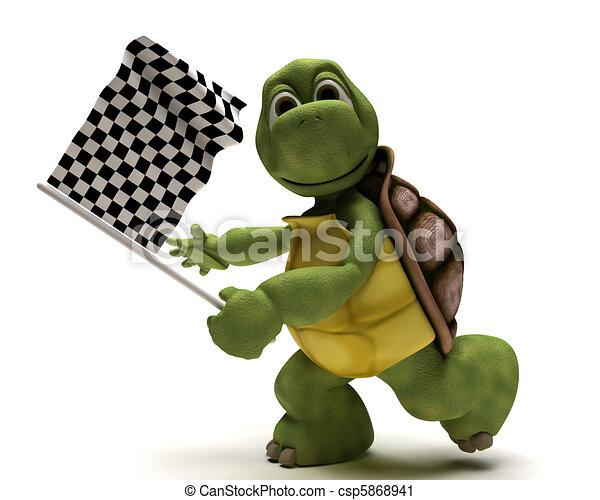 drapeau, tortue, chequered - csp5868941