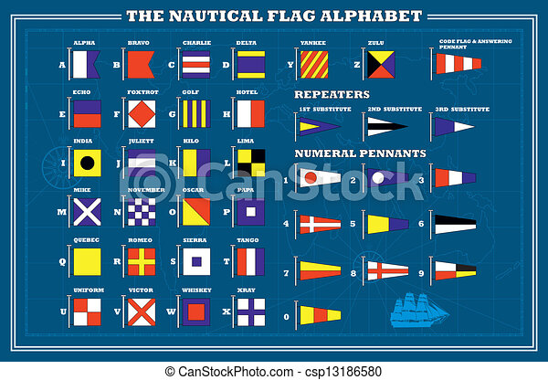 drapeaux, alphabet, maritime, mer, -, international, vecteur, signal - csp13186580