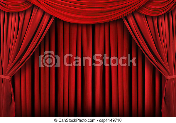 draperen, theater, abstract, achtergrond, rood, toneel - csp1149710