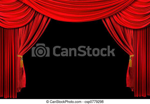 drappeggiato, sfondo rosso, palcoscenico - csp0779298
