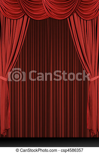 drappeggiato, verticale, rosso, palcoscenico - csp4586357