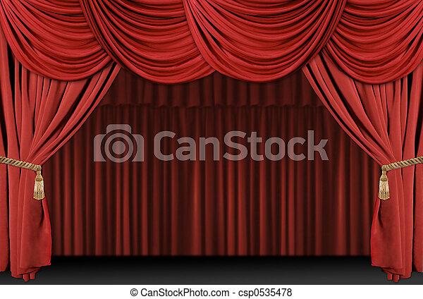 drappo, teatro, fondo, palcoscenico - csp0535478