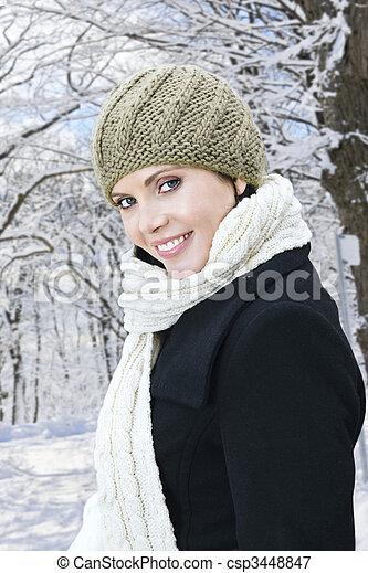 draußen, frau, winter, glücklich - csp3448847