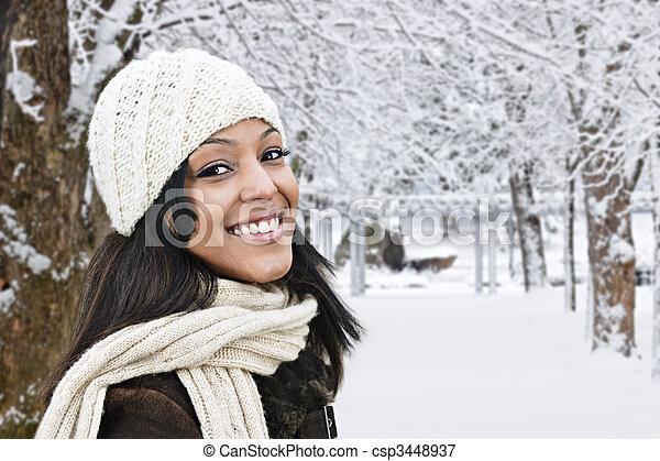 draußen, frau, winter, glücklich - csp3448937