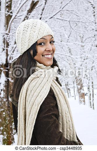 draußen, frau, winter, glücklich - csp3448935
