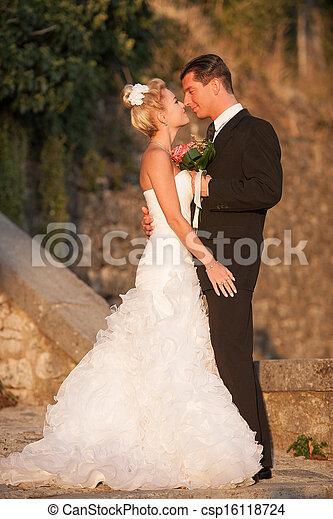 draußen, -, paar, stallknecht, park, braut, verheiratet - csp16118724