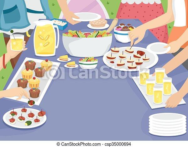 draußen, picknick, familie partei, tisch, mahlzeit - csp35000694