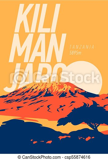 draußen, poster., illustration., einfassung kilimanjaro, sonnenuntergang, afrikas, vulkan, erde, higest, tansania, abenteuer - csp55874616