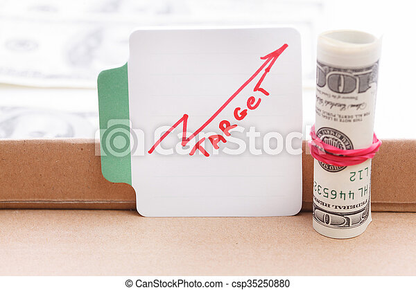 Draw a graph and dollar bill - csp35250880