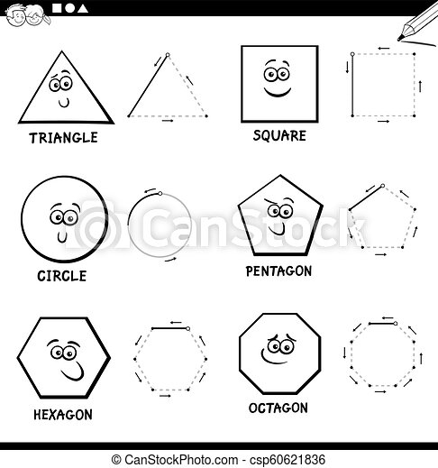 Draw basic geometric shapes color book. Black and white educational ...
