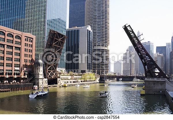 Draw bridges of Chicago - csp2847554