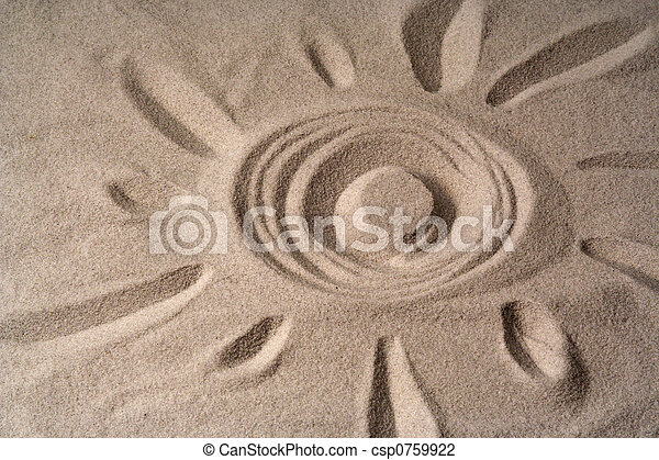 draw of a sun  on sand - csp0759922