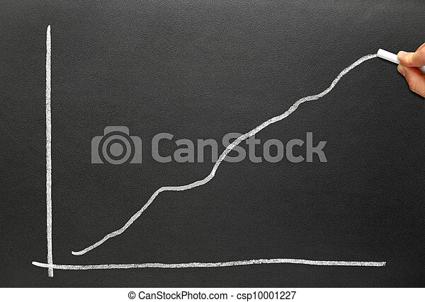 Drawing a profit chart with chalk on a blackboard. - csp10001227